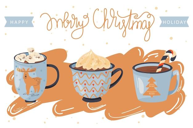 Illustratie van kerstmis en gelukkig nieuwjaar mokken met cacao en snoepriet
