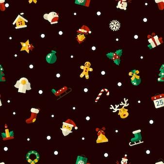 Illustratie van kerstmis plat ontwerppatroon met pictogrammen