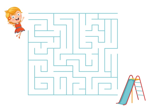 Illustratie van kid and slide maze