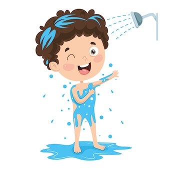 Illustratie van kid bathing