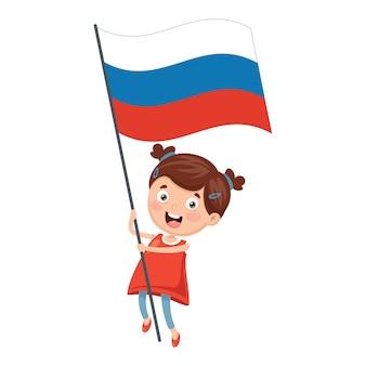 Illustratie van kid holding rusland vlag