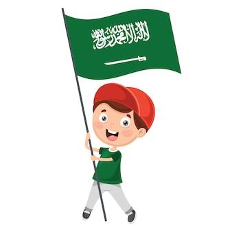 Illustratie van kid holding saoedi-arabië vlag