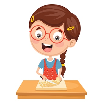 Illustratie van kid voorbereiding maaltijd