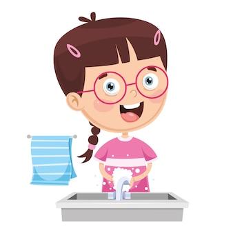 Illustratie van kid wassen handen