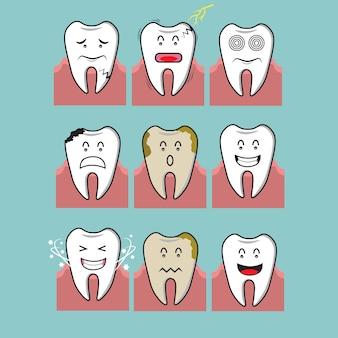 Illustratie van kiespijn, tandbederf en gezond tandconcept.