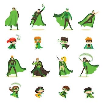 Illustratie van kind en volwassen eco superhelden in grappige strips kostuum geïsoleerd op de witte achtergrond