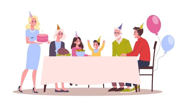 Illustratie van kind verjaardagsfeestje. ouders feliciteren hun kind. gelukkige familie viert een verjaardag.