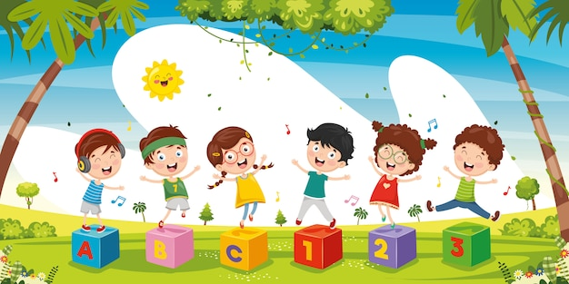 Illustratie van kinderen buiten spelen