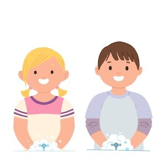 Illustratie van kinderen die hun handen wassen in een kraan met water en zeep