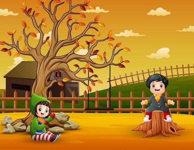 Illustratie van kinderen die in de tuin spelen