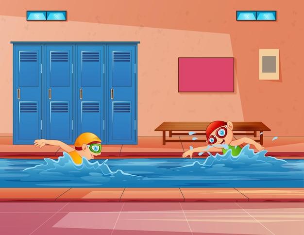 Illustratie van kinderen die in een binnenzwembad zwemmen