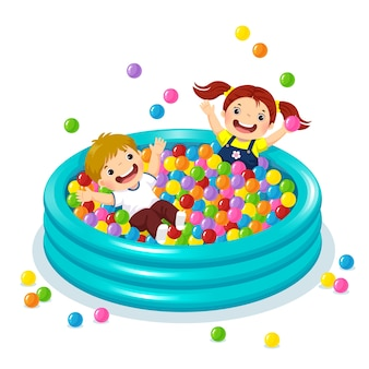 Illustratie van kinderen die met kleurrijke ballen in ballenbad spelen