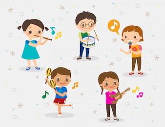 Illustratie van kinderen die verschillende muziekinstrumenten spelen