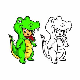 Illustratie van kinderen dragen dinosaurus kostuums.