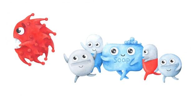 Illustratie van kinderen, een kwaadaardig virus ontsnapt uit zeep en medicijnen.