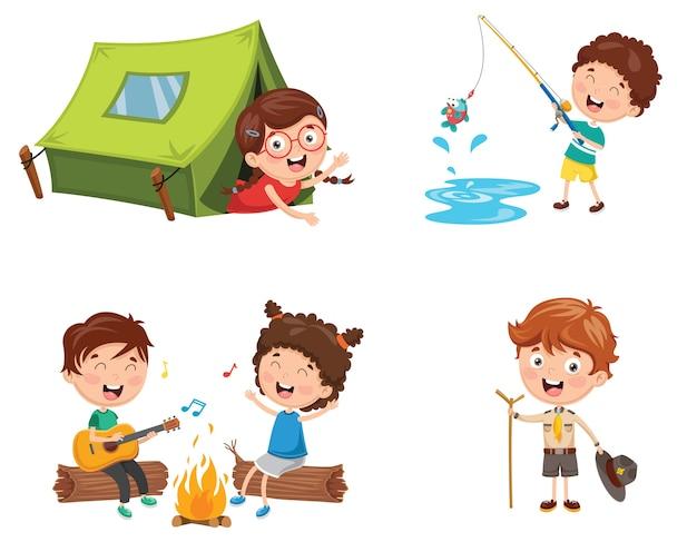 Illustratie van kinderen kamperen