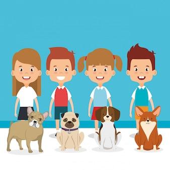 Illustratie van kinderen met huisdieren tekens