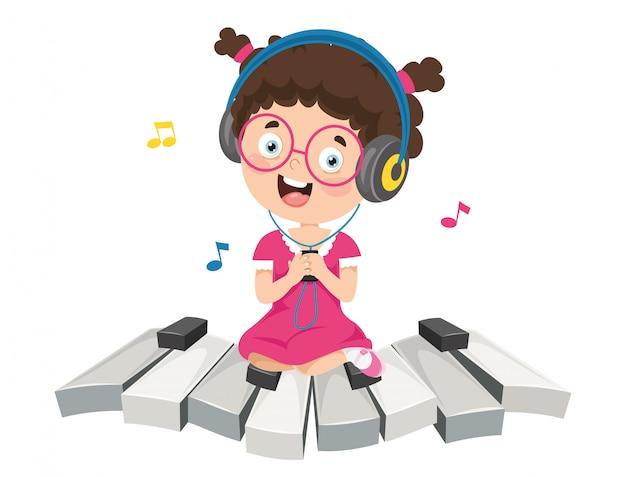 Illustratie van kinderen muziek