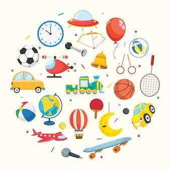 Illustratie van kinderen speelgoed