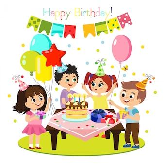 Illustratie van kinderen verjaardagsfeestje, kleurrijke en heldere decoratie, gelukkige kinderen samen plezier hebben, meisjes en jongens in platte cartoon stijl.