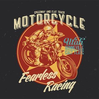 Illustratie van klassieke man op motorfiets