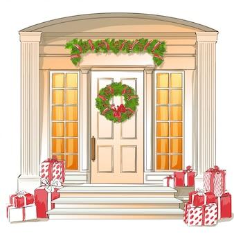 Illustratie van klassieke voordeur met kerstcadeaus