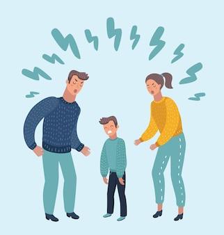 Illustratie van kleine trieste huilende jongen, zijn geliefde ouders vervloekend. f.