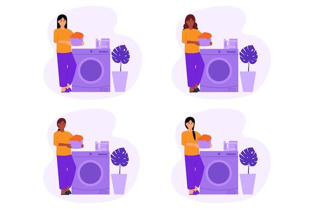 Illustratie van kleren wassen