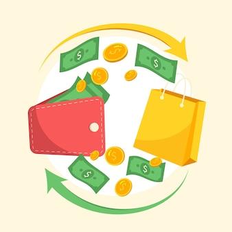Illustratie van kleurrijk cashbackconcept