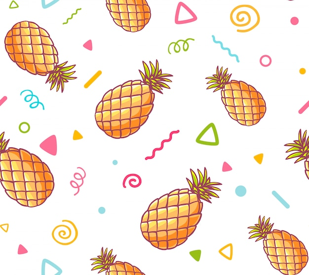 Illustratie van kleurrijk patroon met ananas op witte achtergrond.