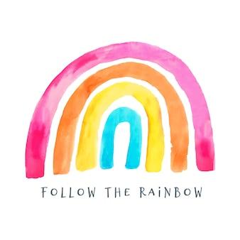 Illustratie van kleurrijke geschilderde regenboog