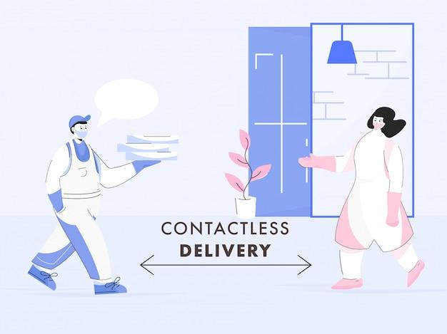 Illustratie van koeriersjongen die pakketbussen geeft aan klantvrouw met behoud van sociale afstand voor contactloze levering tijdens coronavirus.