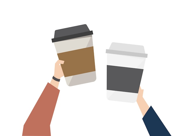 Illustratie van koffie onderweg