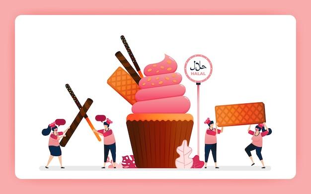 Illustratie van kok halal zoete aardbei cupcakes.