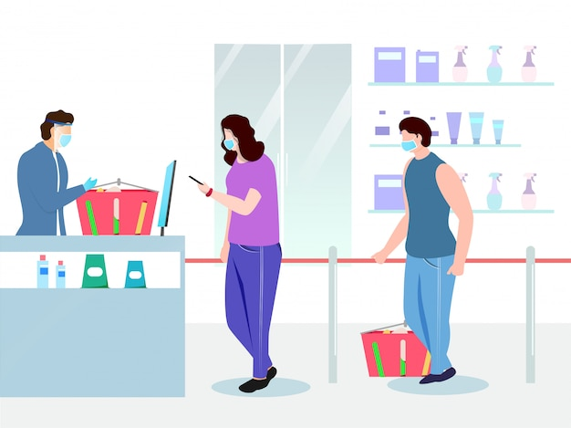 Illustratie van kopers die een medisch masker met een productmand voor de winkel van de supermarkt dragen en sociale afstand bewaren voor het vermijden van coronavirus.