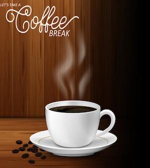 Illustratie van kopje koffie op houten tafel wit papier