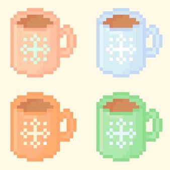 Illustratie van korrelige mok met warme chocolademelk