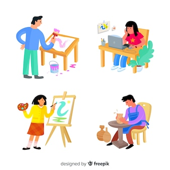 Illustratie van kunstenaars op het werk