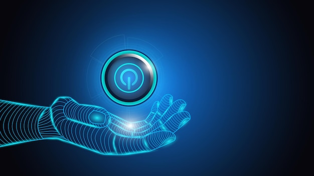 Illustratie van kunstmatige intelligentie met een knop macht in een hand.