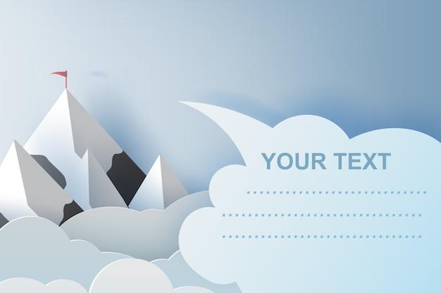 Illustratie van landschap en wolkenbergen met copyspace