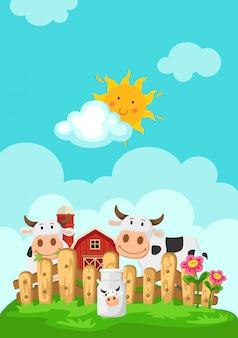 Illustratie van landschap met koeien en boerderij achtergrond
