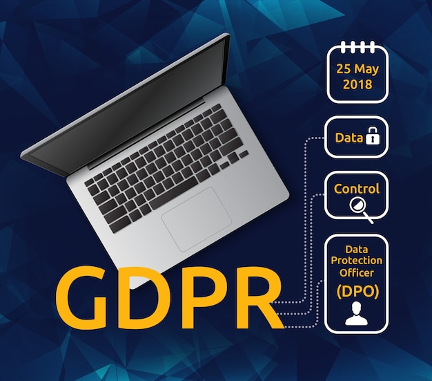 Illustratie van laptop bovenaanzicht en algemene verordening gegevensbescherming of avg met verklarende pictogrammen. concept van privacywetten voor gebruikers