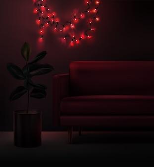 Illustratie van led-kerstslinger in rode kleur in interieur