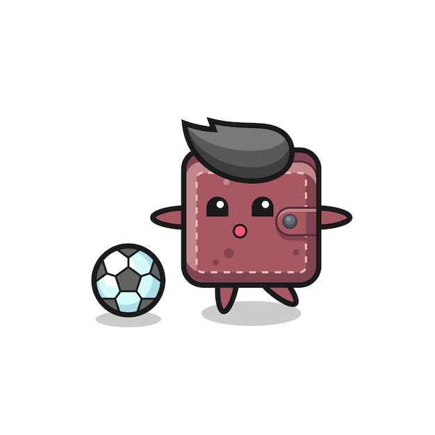Illustratie van lederen portemonnee cartoon is aan het voetballen