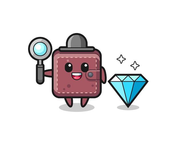 Illustratie van lederen portemonnee karakter met een diamant