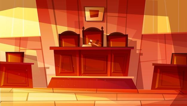 Illustratie van leeg gerechtsgebouw interieur met meubilair.