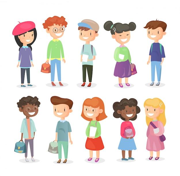 Illustratie van leerlingen geïsoleerd op een witte achtergrond. leuke en gelukkige meisjes en jongens, schoolkinderen in cartoon vlakke stijl.