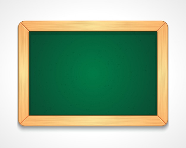 Illustratie van lege groene schoolbord van rechthoekige vorm met eenvoudige houten frame