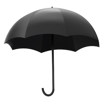 Illustratie van lege zwarte paraplu geïsoleerd op een witte achtergrond