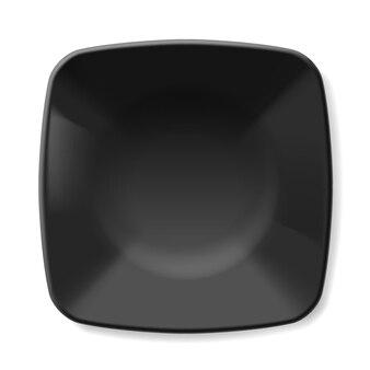 Illustratie van lege zwarte schotel geïsoleerd op een witte achtergrond